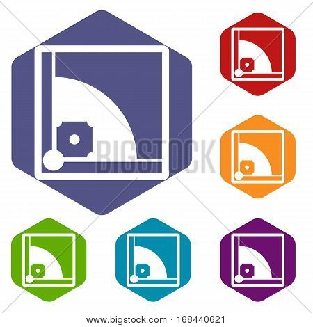 Baseball field icons set rhombus in different colors isolated on white background