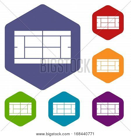 Tennis court icons set rhombus in different colors isolated on white background