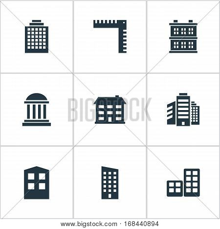 Set Of 9 Simple Construction Icons. Can Be Found Such Elements As Length, Superstructure, Offices And Other.