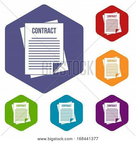 Contract icons set rhombus in different colors isolated on white background