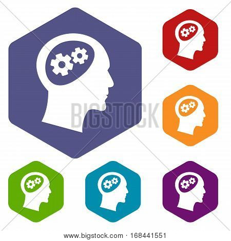 Gear in head icons set rhombus in different colors isolated on white background