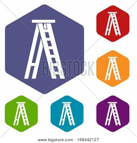 Stepladder icons set rhombus in different colors isolated on white background