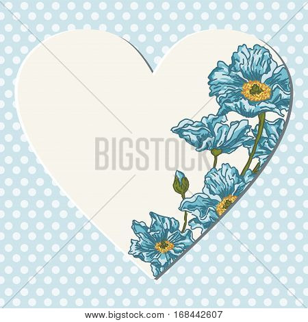 Scalable vectorial image representing a blue background with blank heart and flowers.