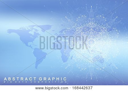 Geometric graphic background communication with Political World Map. Big data complex with compounds. Perspective minimal array. Digital data visualization. Scientific cybernetic vector illustration
