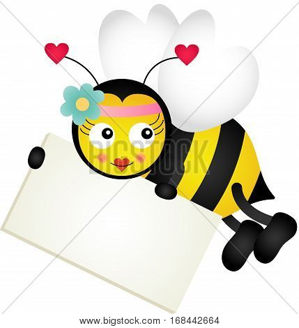 Scalable vectorial image representing a cute bee holding blank signboards, isolated on white.