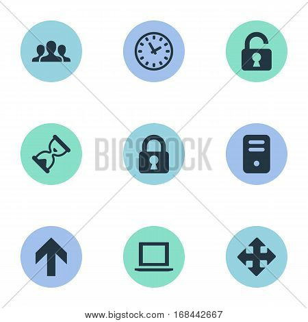 Set Of 9 Simple Apps Icons. Can Be Found Such Elements As Sand Timer, Computer Case, Upward Direction.