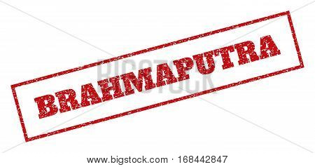 Red rubber seal stamp with Brahmaputra text. Vector tag inside rectangular banner. Grunge design and dirty texture for watermark labels. Inclined sticker.