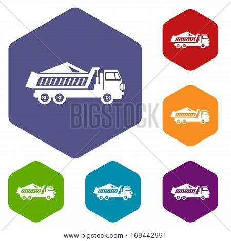 Dump track icons set rhombus in different colors isolated on white background