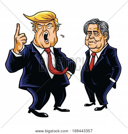 Donald Trump and Steve Bannon Vector Cartoon Caricature Portrait. February 3, 2017