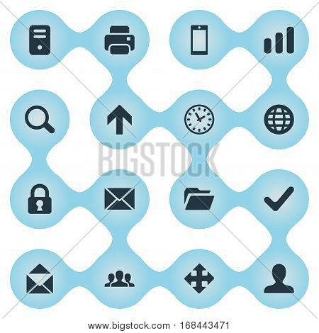 Set Of 16 Simple Practice Icons. Can Be Found Such Elements As Printout, Watch, Statistics And Other.
