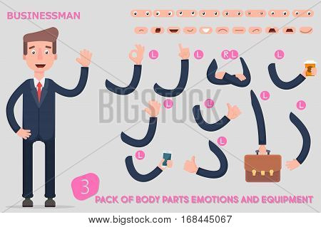 Parts body template for design work and animation. Funny office man cartoon. Vector illustration on light background. Set the character says costume animations. Men game. Flat. Vector. Illustration.