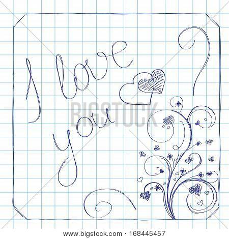 I love you the text on a writingbook leaf