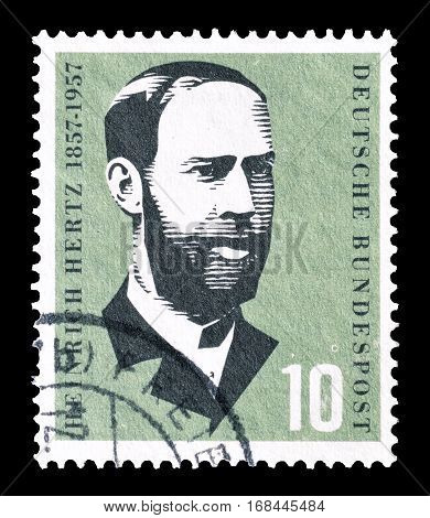 GERMANY - CIRCA 1957 : Cancelled postage stamp printed by Germany, that shows Heinrich Hertz.