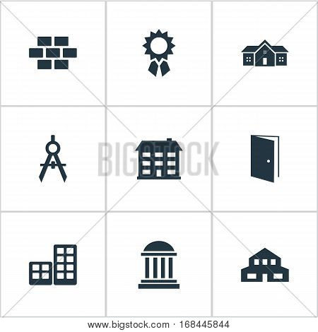 Set Of 9 Simple Structure Icons. Can Be Found Such Elements As Residential, Residence, School And Other.