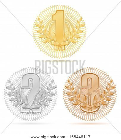 Laureate Wreath Winner Sport Gold Silver Bronze Stock Vector Illustration