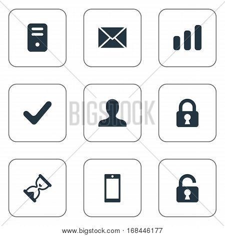 Set Of 9 Simple Apps Icons. Can Be Found Such Elements As Computer Case, Message, Statistics And Other.