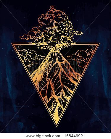 Hand drawn volcano in triangle frame. Nature disaster eruption and smoke in sky with clouds. Isolated vector illustration