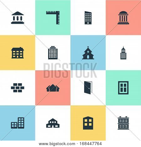 Set Of 16 Simple Architecture Icons. Can Be Found Such Elements As Popish, Residential, Construction And Other.