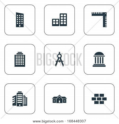 Set Of 9 Simple Architecture Icons. Can Be Found Such Elements As Engineer Tool, Academy, Superstructure And Other.