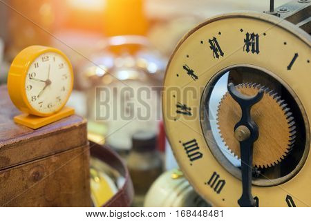 Retro styled watches and clocks, close up