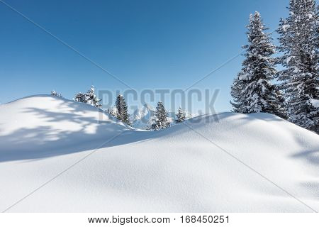 Winter landscape in the Austrian alps as a background image