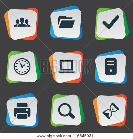 Set Of 9 Simple Practice Icons. Can Be Found Such Elements As Printout, Magnifier, Check And Other.
