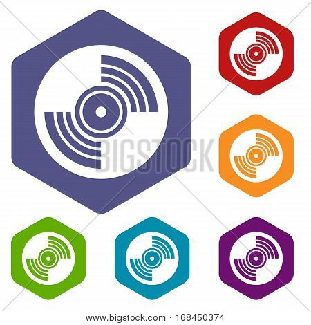 Gramophone vinyl LP record icons set rhombus in different colors isolated on white background