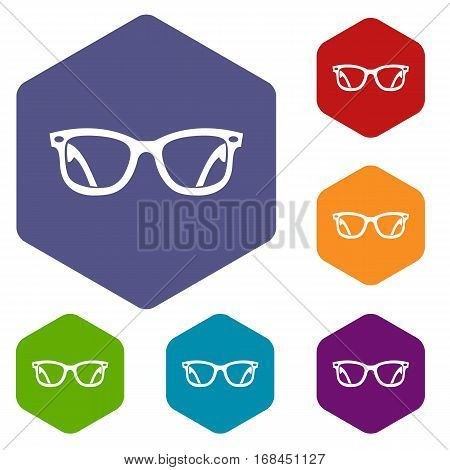 Eyeglasses icons set rhombus in different colors isolated on white background