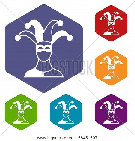 Jester icons set rhombus in different colors isolated on white background