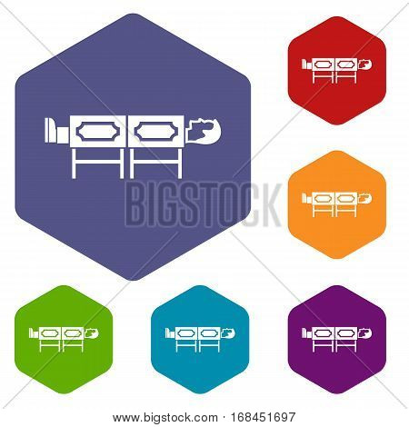 Magician sawing box icons set rhombus in different colors isolated on white background