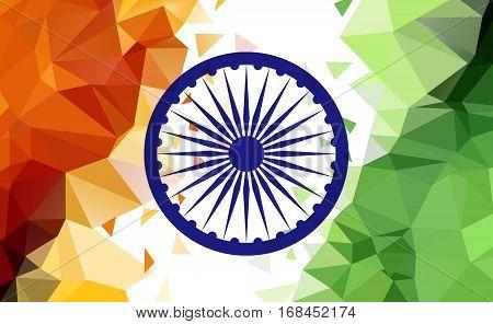 Indian Tricolor Flag, Low Poly Illustration, Ashoka Chakra