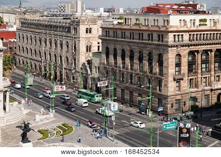 MEXICO CITY,MEXICO - DECEMBER 28,2016 : Aerial view of downtown Mexico City including several historic landmarks