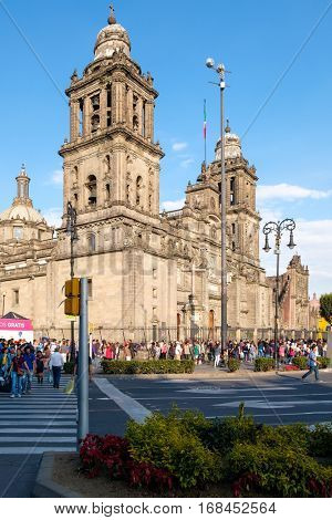 MEXICO CITY,MEXICO - DECEMBER 28,2016 : The Metropolitan Cathedral in Mexico City