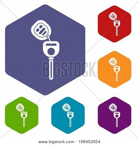 Car key with remote control icons set rhombus in different colors isolated on white background