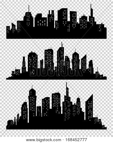 Set of silhouette city illustrations on transparrent background