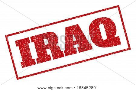 Red rubber seal stamp with Iraq text. Vector message inside rectangular banner. Grunge design and unclean texture for watermark labels. Inclined sticker.