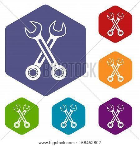 Crossed spanners icons set rhombus in different colors isolated on white background