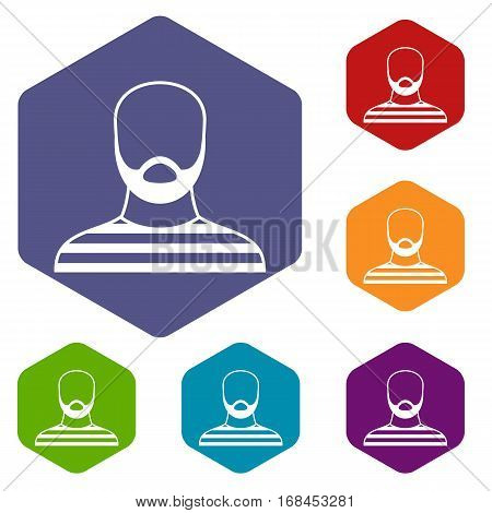 Bearded man in prison garb icons set rhombus in different colors isolated on white background