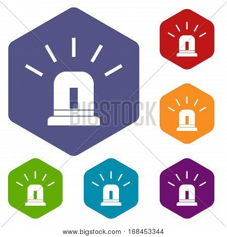 Blue special police flasher icons set rhombus in different colors isolated on white background