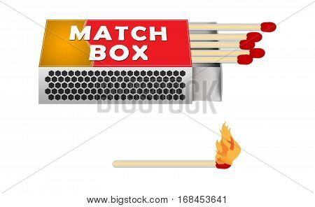 Matches and Match Box Illustration. Matches with Fire Isolated on white.