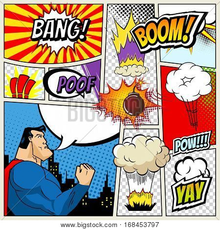illustration of comic book page in pop art style with superhero, speech bubbles and comic strip on colorful halftone. Bang and boom sound. City Silhouette