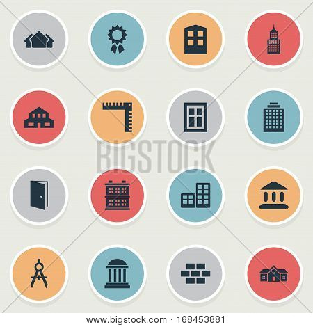 Set Of 16 Simple Architecture Icons. Can Be Found Such Elements As Engineer Tool, Gate, Residence And Other.