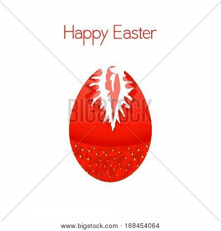 Happy Easter. Strawberry Estar egg. Vector Easter card