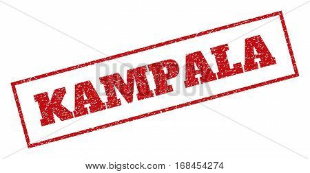 Red rubber seal stamp with Kampala text. Vector caption inside rectangular shape. Grunge design and dust texture for watermark labels. Inclined emblem.