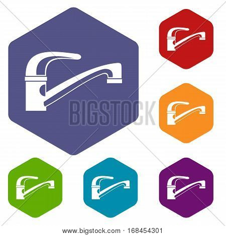 Water tap icons set rhombus in different colors isolated on white background
