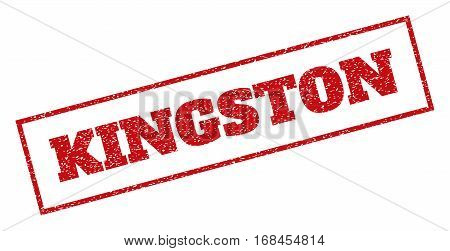 Red rubber seal stamp with Kingston text. Vector message inside rectangular frame. Grunge design and dust texture for watermark labels. Inclined sticker.