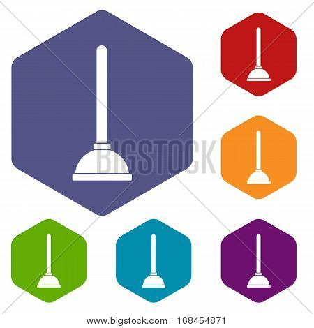 Toilet plunger icons set rhombus in different colors isolated on white background