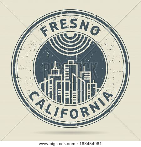 Grunge rubber stamp or label with text Fresno California written inside vector illustration