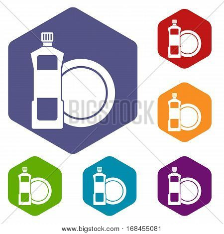 Dishwashing liquid detergent and dish icons set rhombus in different colors isolated on white background