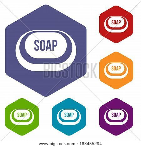 Soap icons set rhombus in different colors isolated on white background